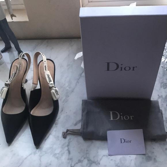 f0a7981dc Christian Dior Shoes | Jadior Ribbon Sling Back Pointy Kitten Heels ...